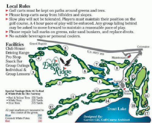Eagle Ridge Course Map & Scorecard - Northern Minnesota Golf ... on golf course layout maps, golf green maps, golf courses map of us, golf yardage book,